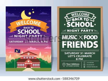 Invitation of back to school night party template design. Vector illustration. can be used for banner, flyer, leaflet, layout, web design, invitation card, poster, background.