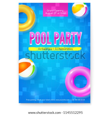 Invitation on summer party in swimming pool. Poster with design of text. Top view on pool with blue water inflatable balls and circles. Vector template for leaflets. Template for leaflets, banners.