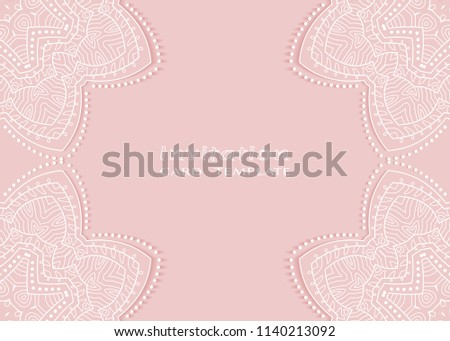 Invitation or Card template with lace mandala border, cutout paper frame element. Decorative openwork filigree art background for Wedding, Valentine's day greeting cards, Birthday Invitations