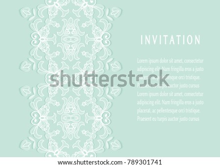 invitation or card templates set with lace border frame element