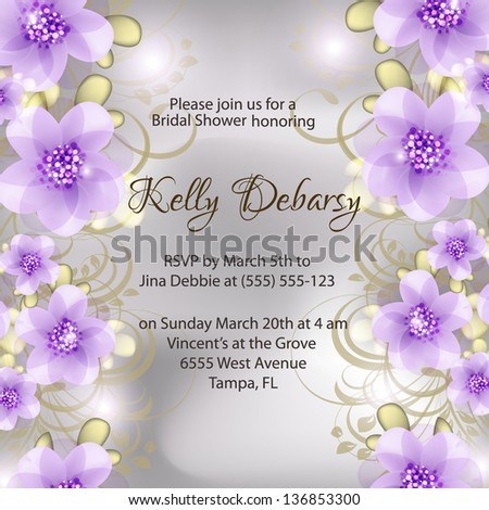 Invitation or wedding card with abstract floral background