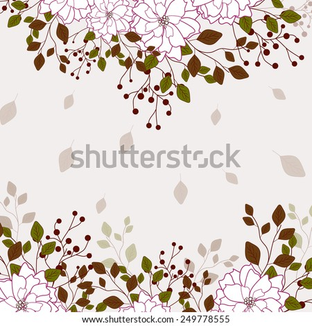 Invitation or wedding card with abstract floral background. #249778555