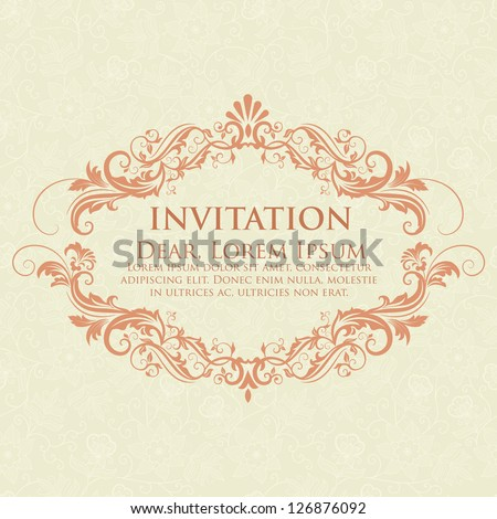 Invitation or wedding card with damask background and elegant floral elements. - stock vector