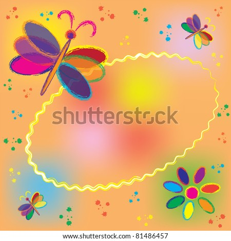 Invitation oval card with rainbow butterflies and colorful splash