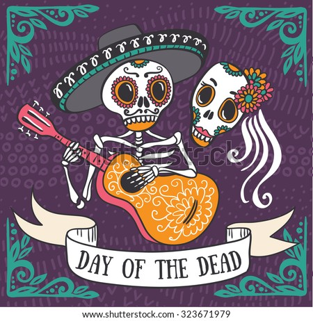 Shutterstock Invitation poster to the Day of the dead party. Dea de los muertos card.