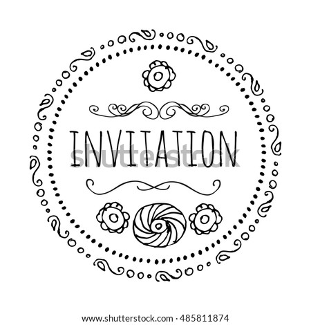 Invitation. Round frame in the style of Bo-Ho. A template for creating holiday greetings, invitations, greeting cards.Vector monochrome image. Line graph.