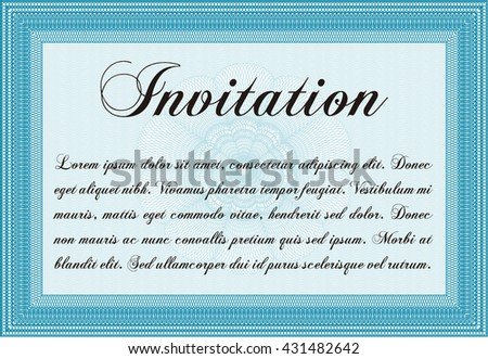 Invitation template. Cordial design. With background. Detailed.