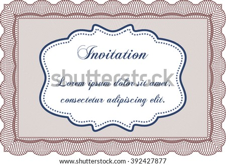 Invitation template. Easy to print. Cordial design. Detailed.