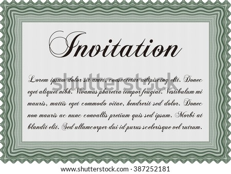 Invitation template. Easy to print. Nice design. Detailed.