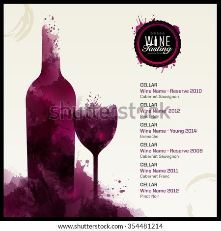 Invitation template for event or party. Suitable for tasting events or wine presentation. Artistic design background with stains. Vector
