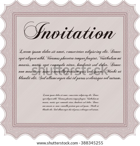 Invitation template. With background. Cordial design. Detailed.