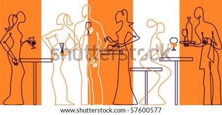 Invitation to cocktail party bar silhouette