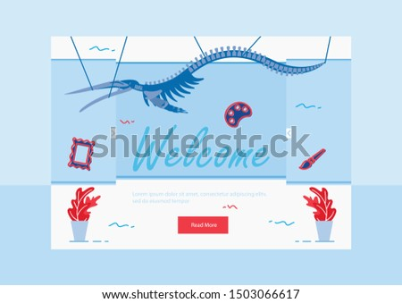 Invitation to Exhibition Landing Page. Pterodactyl in Show Center Flat Cartoon Vector Illustration. Visiting History Museum. Welcome to See Exclusive Exhibits. Skeleton in Anthropological Museum.