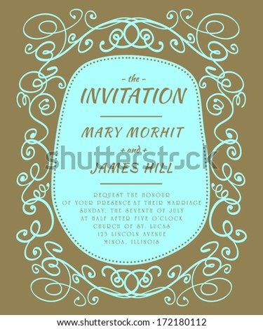 Invitation to the wedding, in the style of sketch