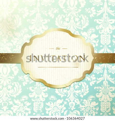 Invitation to the wedding or announcements. Ornate damask background - stock vector