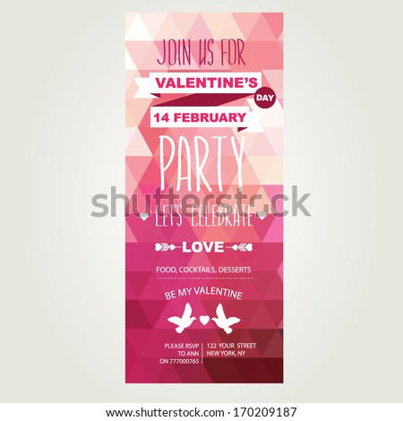 Invitation Valentine's Day.Typography.Vector illustration.