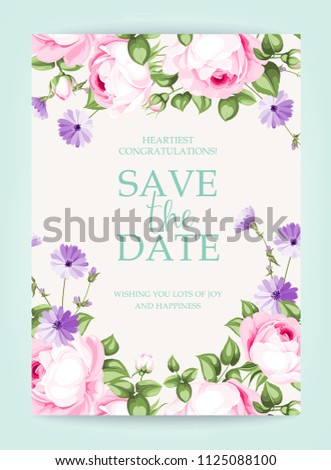 Invitation vertical card. Floral vertical vintage invitation with pink garden blooming flowers. Vector illustration. #1125088100