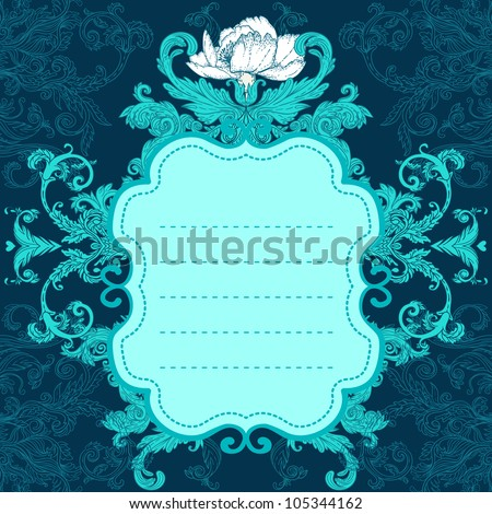 Invitation vintage card. Wedding or Valentine`s Day. Vector illustration in turquoise colors.