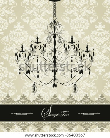 Invitation vintage card with floral ornament and chandelier