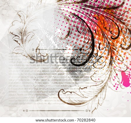 Invitation vintage card with floral ornament with flower for retro design. - stock vector