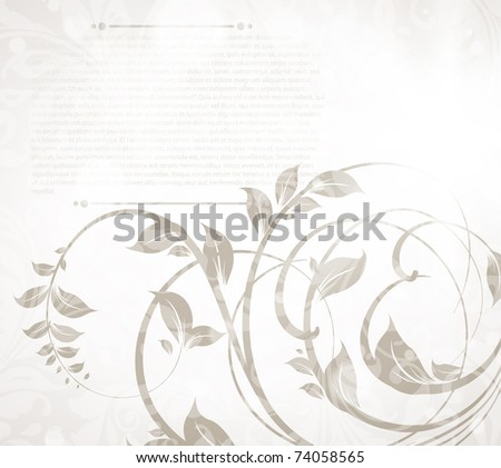 Invitation vintage card with floral ornament, with flower for retro spring or summer design. Eps 10. - stock vector