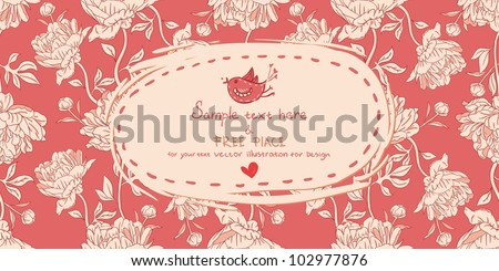 Invitation vintage card with peony flowers on red background