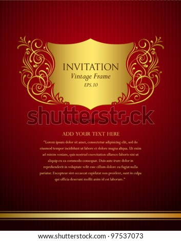 Invitation vintage frame greeting card, Vector illustration