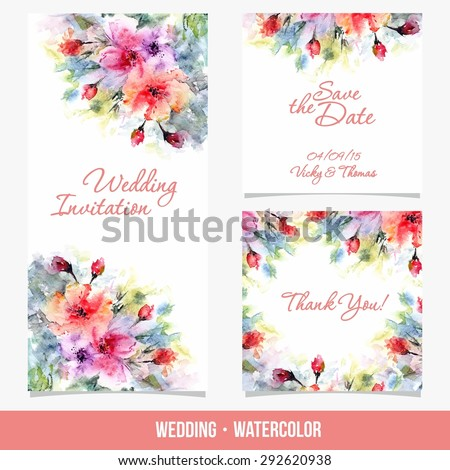 Invitation. Wedding card. Save the date card. Birthday card. Watercolor background with flowers.