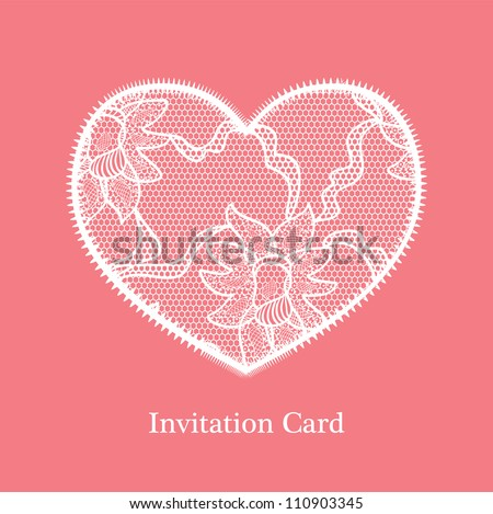 Invitation wedding card. White lace applique on pink background.