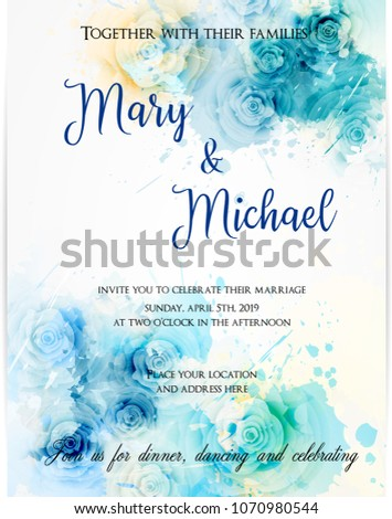 Invitation wedding template  background with watercolored abstract roses. Blue colored. Abstract background.