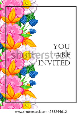 Invitation with floral background #268244612