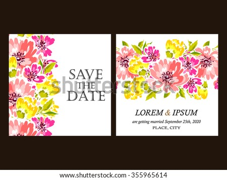Invitation with floral background #355965614