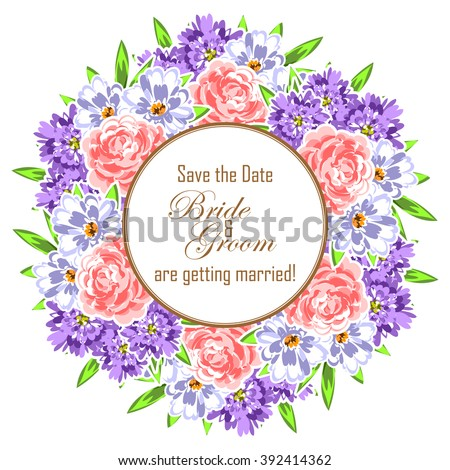 Invitation with floral background #392414362