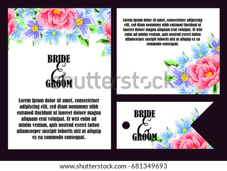 Invitation with floral background - Shutterstock ID 681349693