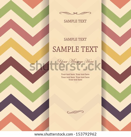 invitation with seamless Vector Chevron Zigzag Background