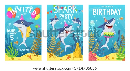 Invitations card with cute sharks. Color greeting card, undersea world animals. Shark, seaweed and fish kids party cartoon vector birthday poster