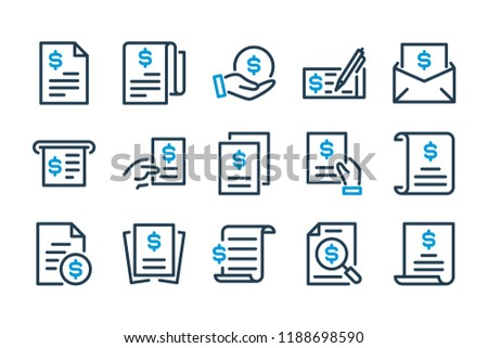 Invoice and bill related line icon set. Contract, statement, utility and Financial report vector icons. Stock photo ©