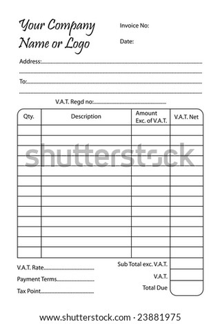 invoice book, vector illustration of a bill pad template - stock vector