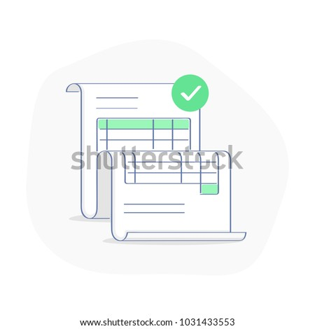 Invoice concept, bill illustration, commercial payment document. Approved transaction form sheet, billing concept. Modern light vector icon design.
