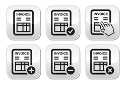Invoice, finance vector buttons set