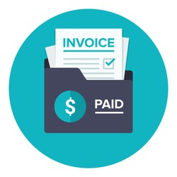 Invoice flat icon. Payment and bill invoice. Order symbol concept. Tax sign design. Paper invoice document in folder. Vector illustration in flat style