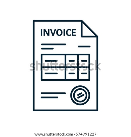 Invoice Line icon, isolated on white background. Payment and billing invoices, business or financial operations sign. Vector icon invoice for services rendered