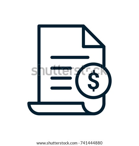 Invoice line icon. Payment and bill invoice. Order symbol concept. Tax sign design. Paper bank document icon. Vector invoice icon