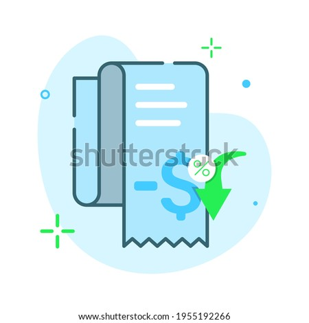 invoice, receipt paper, cost effective, more cheaper price, discount concept illustration flat design vector eps10. modern graphic element for icon, landing page, empty state ui, infographic Foto stock ©