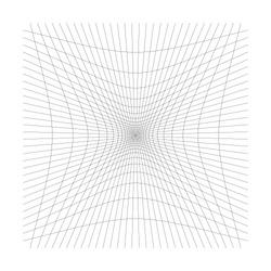 Inward, recess curved lines grid, mesh. Incline compress hollow, indent, dent distortion. Compression, depression negative space pattern. warp, deform lattice, grating or trellis abstract element