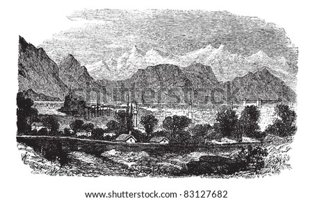 Ioannina or Jannena or Jannina in Epirus, Greece, during the 1890s, vintage engraving. Illustration of Ioannina with trees, houses and lake, mountains in the back. Trousset encyclopedia 1886 - 1891