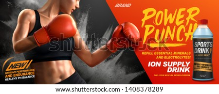 Ion supply drink ads with female boxer in 3d illustration