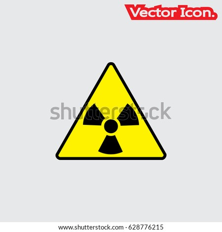 Ionizing Radiation Trefoil Symbol Painted On The Metal Surface