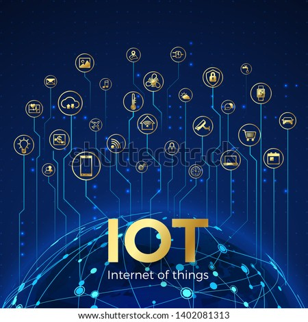 IOT concept. Internet of things. Global network connection. Monitoring and control smart systems icons. Vector illustration