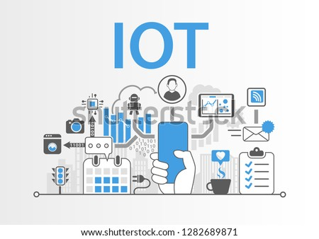 IOT concept with hand holding modern bezel free smart phone